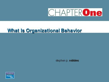 What Is Organizational Behavior. ORGANIZATIONAL BEHAVIOR S T E P H E N P. R O B B I N S E L E V E N T H E D I T I O N W W W. P R E N H A L L. C O M /