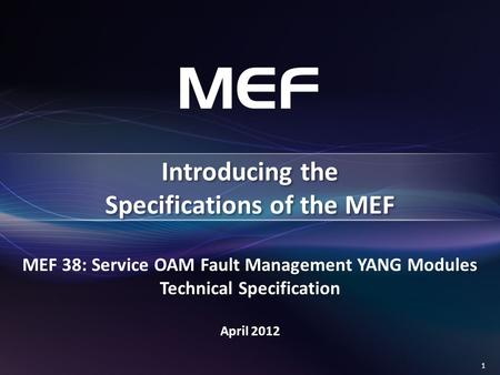 Introducing the Specifications of the MEF