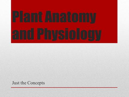 Plant Anatomy and Physiology Just the Concepts. PLANT CLASSIFICATION.
