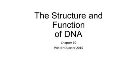 The Structure and Function of DNA