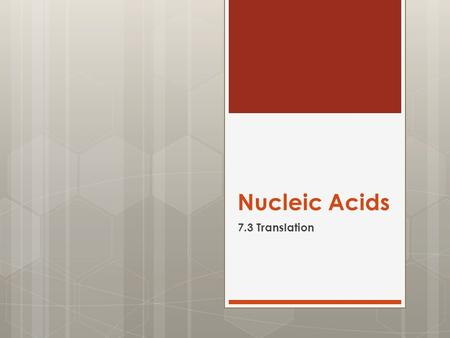 Nucleic Acids 7.3 Translation.