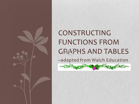 ~adapted from Walch Education CONSTRUCTING FUNCTIONS FROM GRAPHS AND TABLES.