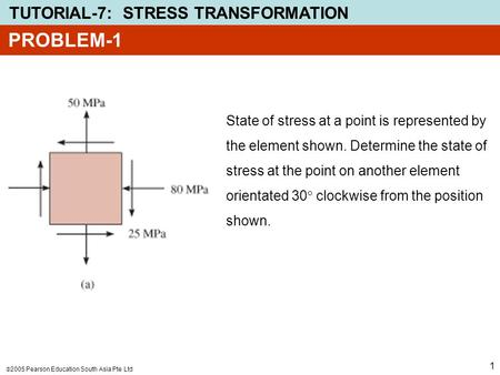 PROBLEM-1 State of stress at a point is represented by the element shown. Determine the state of stress at the point on another element orientated 30