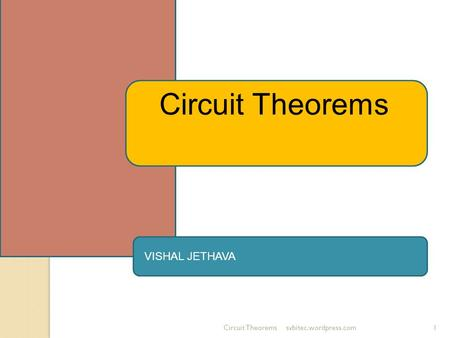 Circuit Theoremssvbitec.wordpress.com1 Circuit Theorems VISHAL JETHAVA.