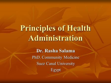 Principles of Health Administration