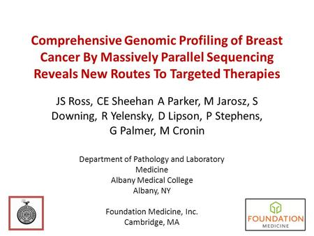 Comprehensive Genomic Profiling of Breast Cancer By Massively Parallel Sequencing Reveals New Routes To Targeted Therapies JS Ross, CE Sheehan A Parker,