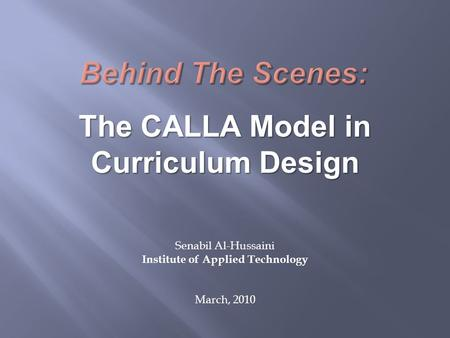 The CALLA Model in Curriculum Design