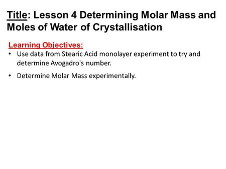 determination of the waters of crystallisation Aim to analyse iron (ii) sulphate to find the number of molecules of water of crystallisation per unit formula notes potassium manganate (vii) is a self indicating reagent for titrations.
