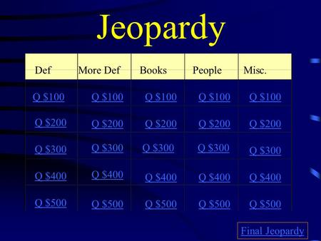 Jeopardy Def.More DefBooksPeopleMisc. Q $100 Q $200 Q $300 Q $400 Q $500 Q $100 Q $200 Q $300 Q $400 Q $500 Final Jeopardy.