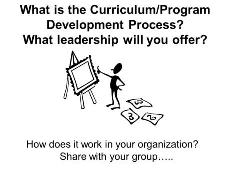 What is the Curriculum/Program Development Process? What leadership will you offer? How does it work in your organization? Share with your group…..