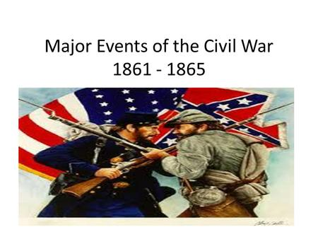 Major Events of the Civil War 1861 - 1865. Firing on Fort Sumter (1861) On April 12, 1861 the Rebels bombarded Fort Sumter, a federal fort in Charleston.