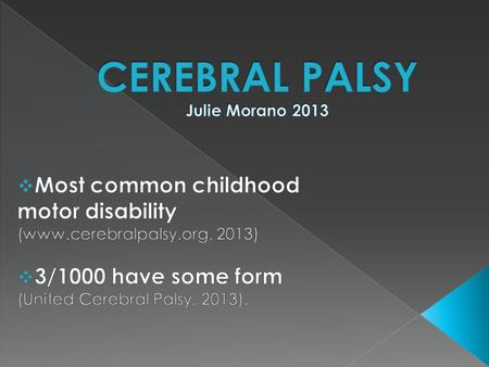 1.What is Cerebral Palsy? 2. What is Spastic Cerebral Palsy? 3. What can life be like for a child with Cerebral Palsy?