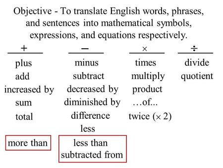 Objective - To translate English words, phrases, and sentences into mathematical symbols, expressions, and equations respectively. _ + plus minus times.