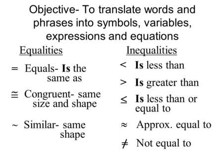 Objective- To translate words and phrases into symbols, variables, expressions and equations Equalities Inequalities = Equals- Is the same as Congruent-