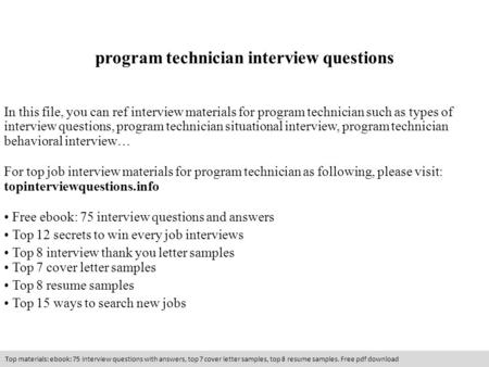 program technician interview questions