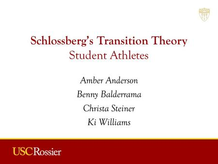 Schlossberg's Transition Theory Student Athletes Amber Anderson Benny Balderrama Christa Steiner Ki Williams.