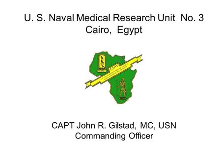 U. S. Naval Medical Research Unit No. 3 Cairo, Egypt CAPT John R. Gilstad, MC, USN Commanding Officer.
