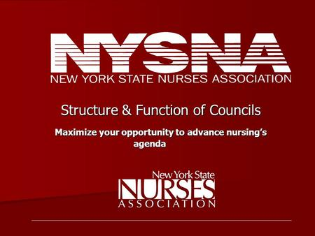 Structure & Function of Councils Structure & Function of Councils Maximize your opportunity to advance nursing's agenda Maximize your opportunity to advance.