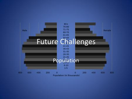 Future Challenges Population. Population growth ∧ 20 million population Growth – Natural increase – Migration Family structures Decline – Minimum working.