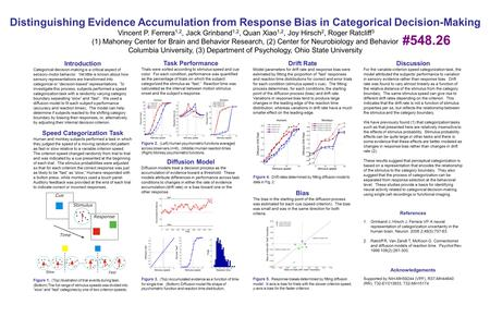 Distinguishing Evidence Accumulation from Response Bias in Categorical Decision-Making Vincent P. Ferrera 1,2, Jack Grinband 1,2, Quan Xiao 1,2, Joy Hirsch.