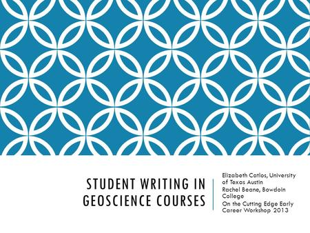 Student Writing in Geoscience Courses