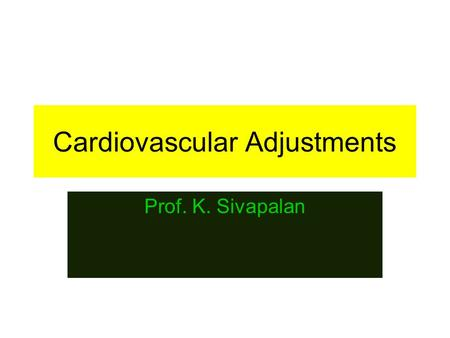 Cardiovascular Adjustments Prof. K. Sivapalan. 2013 Regional Circulation 2 Cardiovascular adjustment in exercise [isotonic]. Skeletal muscles require.