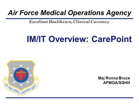 Excellent Healthcare, Clinical Currency Air Force Medical Operations Agency 1 IM/IT Overview: CarePoint Maj Ronna Bruce AFMOA/SGHH.