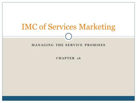 IMC of Services Marketing