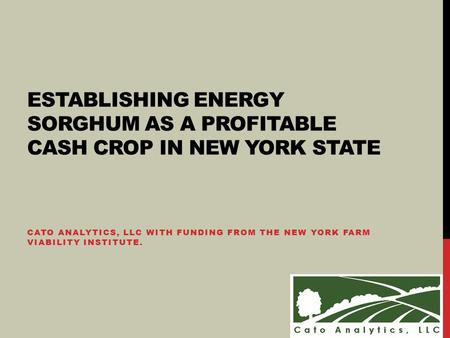 CATO ANALYTICS, LLC WITH FUNDING FROM THE NEW YORK FARM VIABILITY INSTITUTE. ESTABLISHING ENERGY SORGHUM AS A PROFITABLE CASH CROP IN NEW YORK STATE.