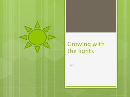 Growing with the lights By:. Question: How do different types of artificial light affect the growth of plants compared to sunlight? I asked that question,