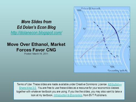 More Slides from Ed Dolan's Econ Blog  Move Over Ethanol, Market Forces Favor CNG Posted March 16, 2011