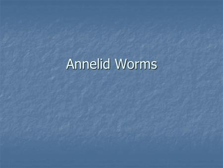 Annelid Worms Segmented worms Segmented worms 3 Classes: Oligochaetes- live in soil or freshwater Oligochaetes- live in soil or freshwater Ex.: earthworms.