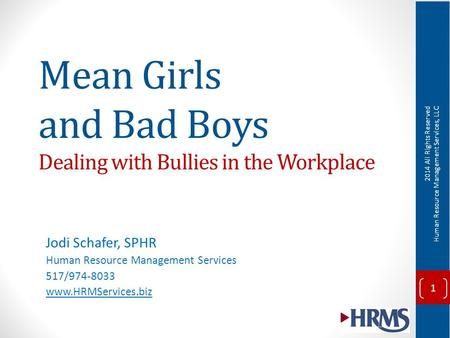 Mean Girls and Bad Boys Dealing with Bullies in the Workplace