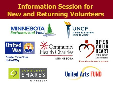 Information Session for New and Returning Volunteers.