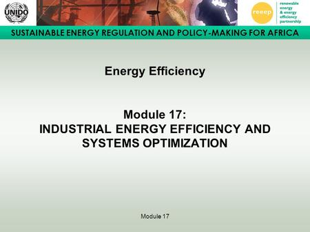SUSTAINABLE ENERGY REGULATION AND POLICY-MAKING FOR AFRICA Module 17 Energy Efficiency Module 17: INDUSTRIAL ENERGY EFFICIENCY AND SYSTEMS OPTIMIZATION.