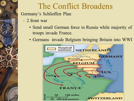 The Conflict Broadens Germany's Schlieffen Plan 2 front war