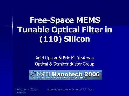 Free-Space MEMS Tunable Optical Filter in (110) Silicon