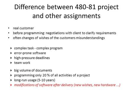 Difference between 480-81 project and other assignments real customer before programming: negotiations with client to clarify requirements often changes.