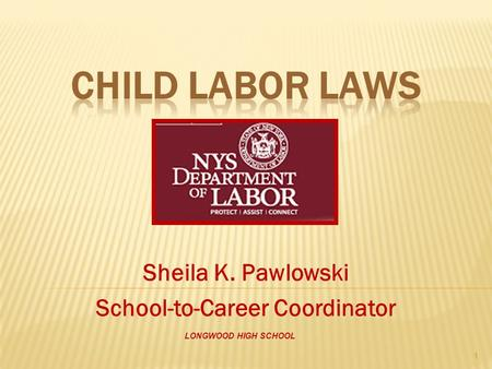 Sheila K. Pawlowski School-to-Career Coordinator LONGWOOD HIGH SCHOOL 1.