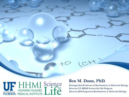 Ben M. Dunn, PhD. Distinguished Professor of Biochemistry & Molecular Biology Director, UF-HHMI Science for Life Program Director, IDS Program in Biochemistry.