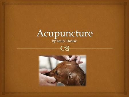   Acupuncture: the insertion of needles into specific points on the body to cause a desired healing effect.  One of the earliest records of veterinary.