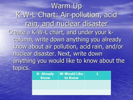 Warm Up K-W-L Chart: Air pollution, acid rain, and nuclear disaster Create a K-W-L chart, and under your k- column, write down anything you already know.