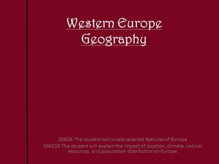 Western Europe Geography