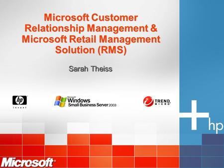 Microsoft Customer Relationship Management & Microsoft Retail Management Solution (RMS) Sarah Theiss.