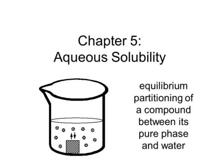 Chapter 5: Aqueous Solubility equilibrium partitioning of a compound between its pure phase and water.