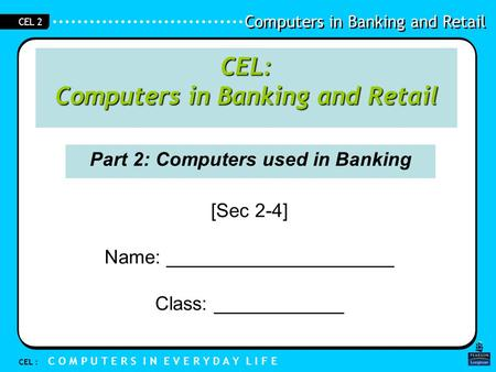 Part 2: Computers used in Banking