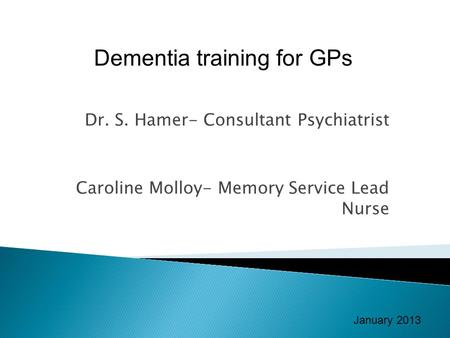 Dementia training for GPs