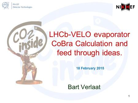LHCb-VELO evaporator CoBra Calculation and feed through ideas. 18 February 2015 Bart Verlaat 1.