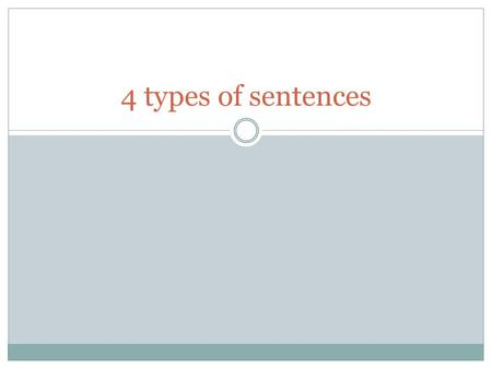4 types of sentences. I will be able to identify declarative, interrogative, imperative, and exclamatory sentences.