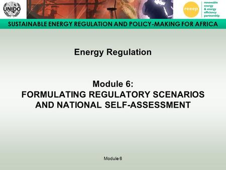 SUSTAINABLE ENERGY REGULATION AND POLICY-MAKING FOR AFRICA Module 6 Energy Regulation Module 6: FORMULATING REGULATORY SCENARIOS AND NATIONAL SELF-ASSESSMENT.